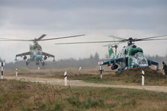 Helicópteros ucranianos do exército Imagens de Stock Royalty Free