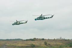 Helicópteros ucranianos do exército Mi-24 Fotografia de Stock Royalty Free