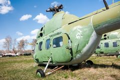 Helicópteros velhos do armazenamento Foto de Stock Royalty Free