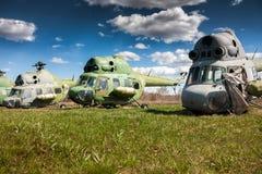 Helicópteros viejos del almacenamiento Fotografía de archivo