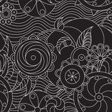 Helical flowers and waves. White lacy seamless pattern on black backdrop Royalty Free Stock Photos