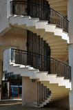 Helical stairs duo. Helical stairs with metallic railing Stock Images
