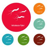 Helicobacter pylory icons circle set vector. Isolated on white background Stock Images