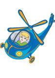 Helicopter. Boy manages the blue helicopter Stock Images