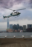 Helicopter. Helikopter on Hong Kong's background Royalty Free Stock Photos