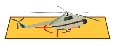 Helicopter. Large passenger helicopter standing on the roof vector illustration