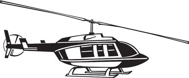 Helicopter. Line Art Illustration of a Helicopter Royalty Free Stock Images