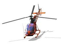 Helicopter. Computer image, red helicopter 3D, isolated white background Royalty Free Stock Photography