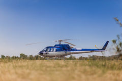 Helicopter. A blue helicopter parked on grass Royalty Free Stock Photos