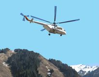 Helicopter. Picture of a flying helicopter in the mountain mentions skyline vector Stock Illustration