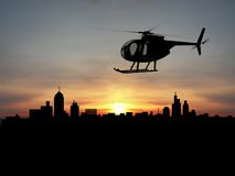 Helicopter. 3d  over night city Royalty Free Stock Photography