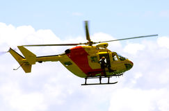 Helicopter. Rescue Helicopter flying over the coast, Australia Royalty Free Stock Photo
