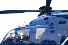 Helicopter. View of cockpit and rotors of blue helicopter Stock Photo