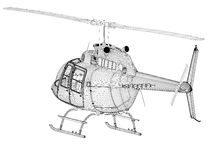 Helicopter 3d model. Back view Royalty Free Stock Image