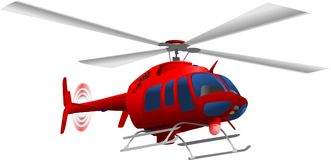 Helicopter. Vector - red helicopter flying up Stock Photo
