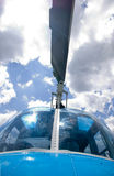 Helicopter. Blue police helicopter ready for fly Royalty Free Stock Image