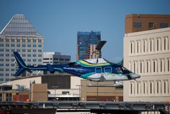 Helicopter. Taking off from a rooftop from downtown St. Paul Minnesota Royalty Free Stock Photography