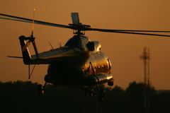 Helicopter. Silhouette of helicopter, military transport royalty free stock image