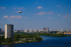 Helicopter above the river Royalty Free Stock Images