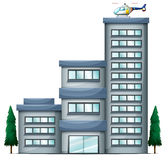 A helicopter above the tall building Royalty Free Stock Photo