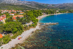 Orebic, Croatia. Helicopter aerial shoot of famous tourist destination on Peljesac peninsula, Croatia stock image