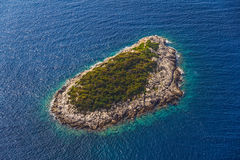 Mljet. Helicopter aerial shoot of small island near Mljet - a tourist destination in Dubrovnik archipelago, Croatia royalty free stock photo