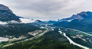 Helicopter aerial view of Banff National Park stock photography
