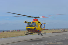 Helicopter Agusta-Bell 412SP, yellow color, in use for Netherlands Search and Rescue (SAR) Stock Photo