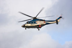 Helicopter in the air stock photo