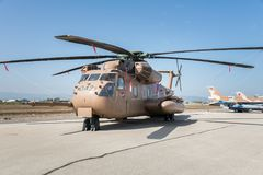 Independence day celebrations in Israel. Helicopter at air force base during Independence day celebrations in Israel Stock Photos