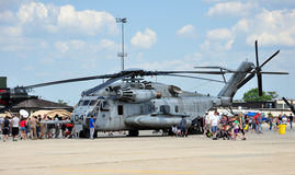 Helicopter at Air Show. Crowd of people looking at helicopter at Air Show. Taken May 13, 2012 Royalty Free Stock Photography