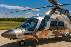 Helicopter on  an airfield. Military helicopter on an air field Royalty Free Stock Photos