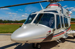 Helicopter on  an airfield. Helicopter white  on an airfield Stock Image