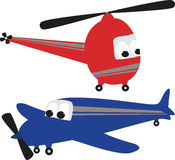 Helicopter and Airplane. On a white background Stock Illustration