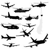 Helicopter and airplane silhouettes. Assorted helicopter and airplane silhouettes Royalty Free Stock Image