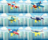 Helicopter and airplanes flying in the city Royalty Free Stock Images