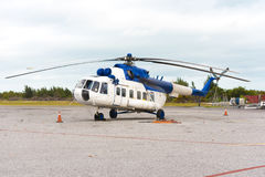 Helicopter at the airport of the island of Cayo Largo, Cuba. Copy space for text. Stock Photo