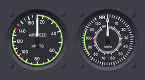 Helicopter airspeed indicators. Vector illustration Stock Photos