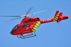 Helicopter ambulance. En route to an accident Stock Photography