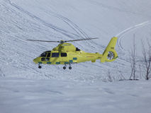 Helicopter ambulance. In winter surroundings Stock Photos