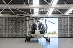 Helicopter in the angar Royalty Free Stock Photo