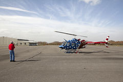 Helicopter, Appalachia. Helicopter decorated like the American flag on an airfield in Appalachia royalty free stock photos