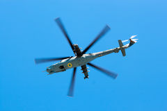Helicopter Armed Forces of Ukraine flew over the area Royalty Free Stock Photos