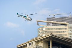 Helicopter arrival Royalty Free Stock Image