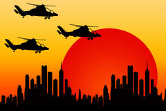 Helicopter attack vector illustration