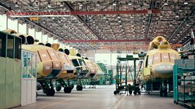 Helicopter aviation plant industry making. Assembly mi8 stock footage
