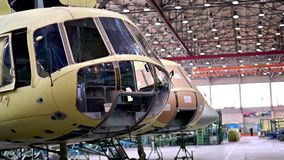Helicopter aviation plant industry making. Assembly mi8 stock video footage