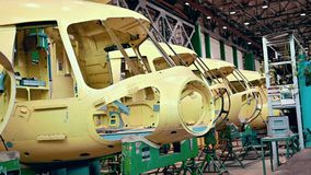 Helicopter aviation plant industry making. Assembly mi8 stock video