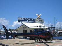 Helicopter Awaits. It's passengers at Marina Mirage on Australia's Gold Coast stock photo