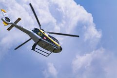 Helicopter at Bandung Air Show 2017, with cloud background. stock images